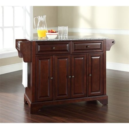 - Bowery Hill Solid Granite Top Kitchen Island in Mahogany