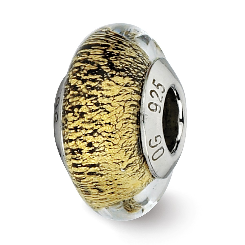 Sterling Silver Reflections Black/Gold Italian Murano Glass Bead