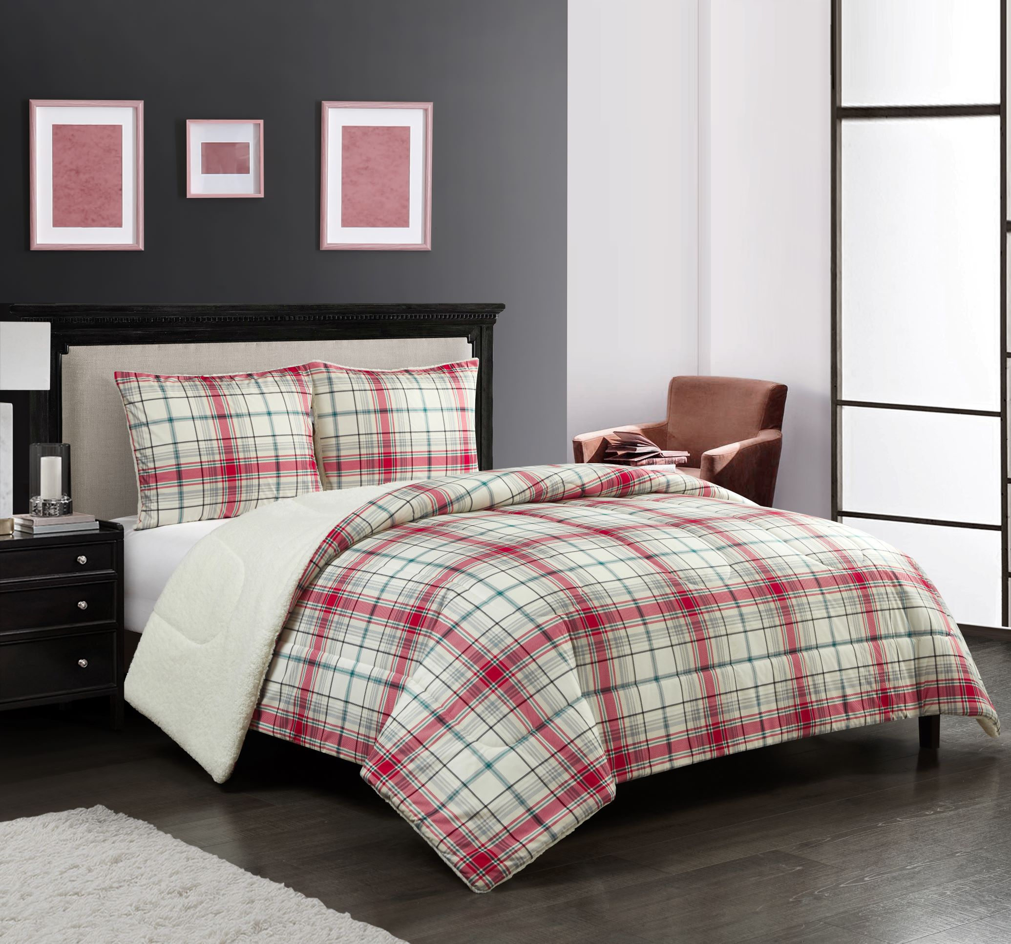 Mainstays Cozy Flannel Reverse To Super Soft Sherpa 3 Piece Comforter Set Full Queen Red And Green Plaid Walmart Com Walmart Com