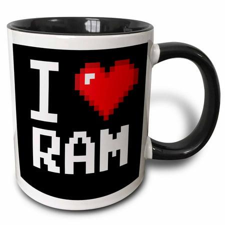 3dRose Geeky Old School Pixelated Pixels 8-Bit I Heart I Love RAM - Two Tone Black Mug, 11-ounce
