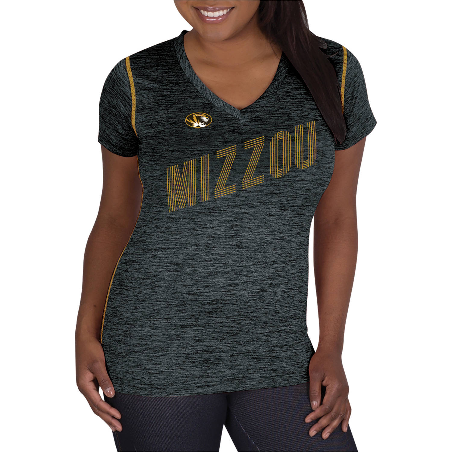 NCAA Missouri Tigers Ladies Classic-Fit Synthetic V-Neck Tee
