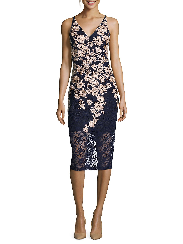 Two-Tone Lace V-Neck Bodycon Dress