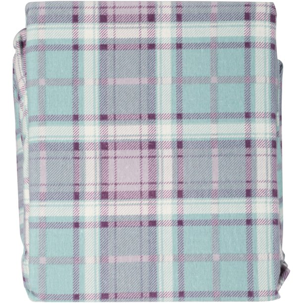 Mainstays Ms Flannel Sheet Set Aquafier Plaid Walmart Com Walmart Com