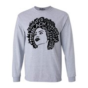 Shop4Ever Men's African American Woman Afro Word Cloud Long Sleeve Shirt