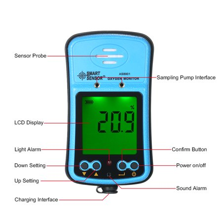 SMART SENSOR Professional Industrial Digital Handheld Portable Automotive Oxygen Meter High Precision O² Gas Tester Monitor Detector with LCD Display Sound and Light Vibration Alarm 100-240V - image 4 of 7
