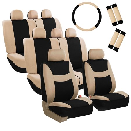FH Group Light & Breezy Seat Covers for Auto, 3 Row 8 Seaters Full Covers with Steering/Belt Pad Cover, Beige and Black (3rd Row Seat Cover)