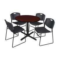 "Regency 5-Piece 42"" Round Lunchroom Table with Metal ""X"" Base and 4 Zeng Chairs"
