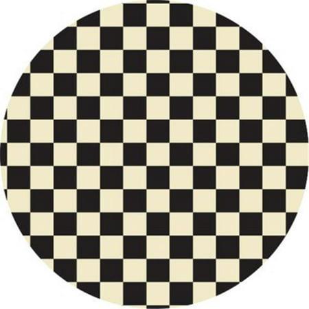 Checker of Circles - Size Rug 5ft x 5ft - Black & White (Checkered Carpet Black And White)