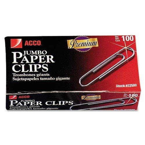 Acco Non-skid Paper Clip - Jumbo - 1000 / Pack - Silver (ACC72510)