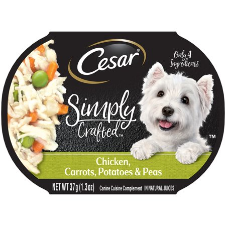 CESAR SIMPLY CRAFTED Adult Wet Dog Food Cuisine Complement, Chicken, Carrots, Potato & Peas, 1.3 oz. Tub, Pack of 12