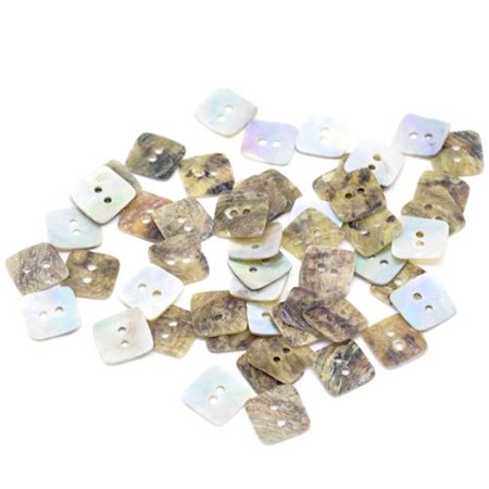 Mother of Pearl Square Sewing Buttons Scrapbooking 12x12mm, Sold Per Pack of
