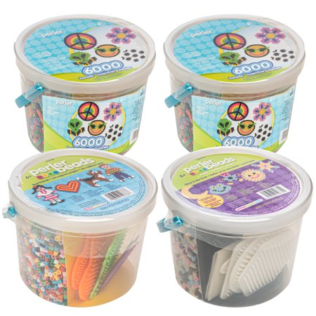 Perler (Set of 4) Bucket Of Beads: Best Friends, Glow in the Dark, and Two Original Sets , 22500 Pieces and 18