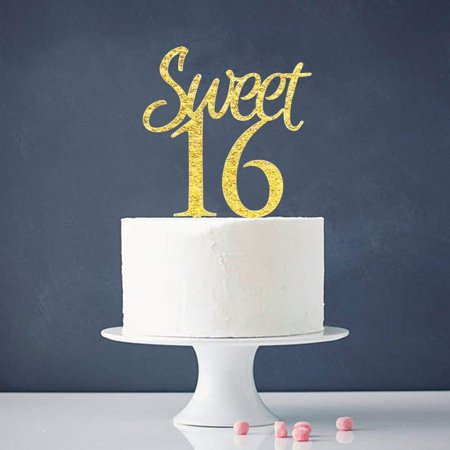 Gold Sweet 16 Cake Topper