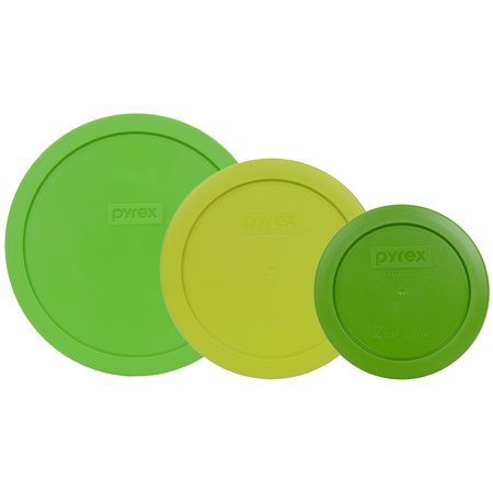 Led Glassware (Pyrex Replacement Lid Green Trio, Sizes 7200-PC, 7201-PC, and 7402-PC for Pyrex Glassware (Sold)