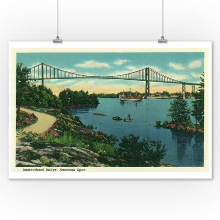 Thousand Islands, New York - International Bridge American Span View # 2 (9x12 Art Print, Wall Decor Travel Poster)