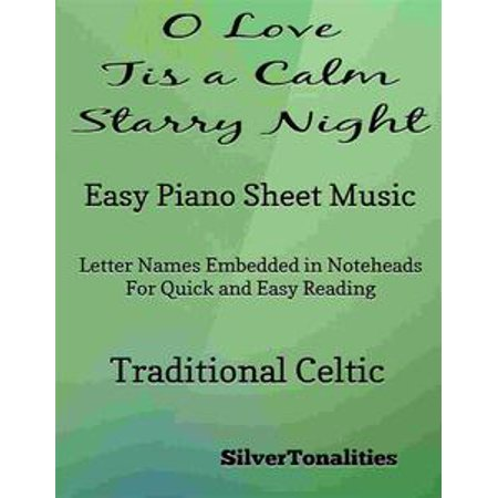 O Love Tis a Calm Starry Night Easy Piano Sheet Music - eBook - Halloween Night Piano Sheet Music