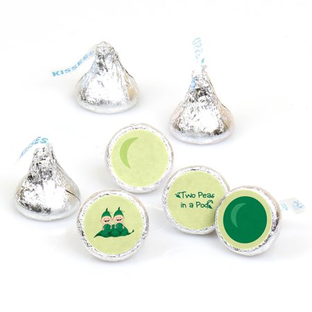Twins Two Peas in a Pod - 108 Round Candy Labels Party Favors - Fits Hershey's Kisses (Twins Party Supplies)
