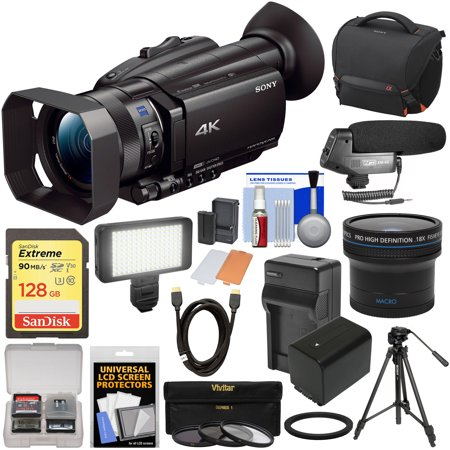Sony Handycam FDR-AX700 4K HD Video Camera Camcorder with 128GB Card + Battery + Case + LED Light + Microphone + Tripod + Filters + Fisheye Lens +