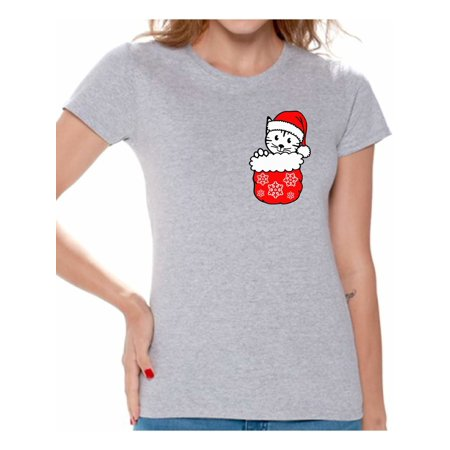 awkward styles pocket cat christmas shirt for women christmas cat t shirt womens holiday top cute kitten in pocket xmas gift for her holiday t shirt funny