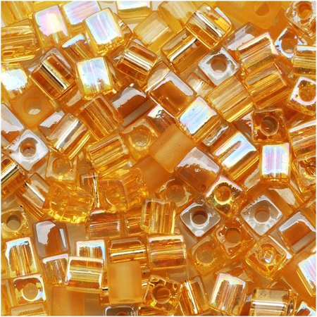 Gold Miyuki Cube (Miyuki 4mm Glass Cube Bead Mix Amber Gold Medley 10)