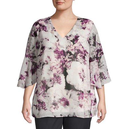 Plus Floral Printed Bell-Sleeve Top