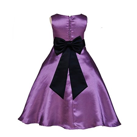 Ekidsbridal Purple Satin A-Line Flower Girl Dresses Pageant Wedding Formal Special Occasion Dresses Recital Ball Gown Holiday Easter Seasonal Birthday Dresses Junior Toddler 821T