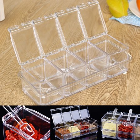 Ceramic Spice Box - Kitchen Home Acrylic Spice Container Jar Condiment Dispenser Salt Seasoning Box New