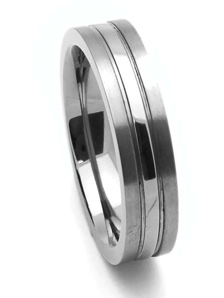 Men Women 5MM Comfort Fit Titanium Wedding Band High Polish Center Grooved Ring