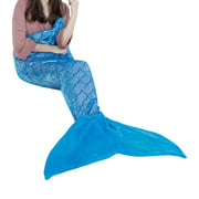 LANGRIA Mermaid Tail Blanket for Adults and Children Soft Warm All Season Snuggle Sleeping Life-like Little Mermaid Glittering Flannel Throw Blanket for Bed Sofa Couch (60 x 25 inches)