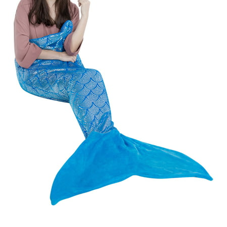 LANGRIA Mermaid Tail Blanket for Adults and Children Soft Warm All Season Snuggle Sleeping Life-Like Little Mermaid Glittering Flannel Throw Blanket for Bed Sofa Couch (60 x 25 inches, Blue) Blue Jean Teddy Blankets