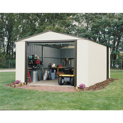 Murryhill 12 x 24 ft. Steel Storage Shed Coffee/Almond