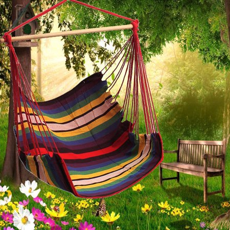 53.2 x 35.5 inches Hanging Swing Cotton Hammock Chair Hammocks Seat Cushion Solid Rope Outdoor Yard Patio Porch Garden thumbnail