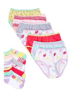 Wonder Nation Girls' Bikini Panties + Socks, 7 Pack 100% Cotton Underwear Sizes 6-16