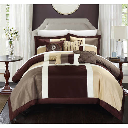 Chic Home Filomena 11-Piece Color Block Bed in a Bag Comforter Set