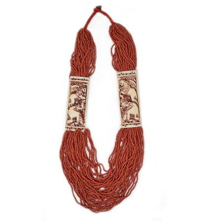 Halloween Red Deer (Elephant Deer and Lion Charm Red Beaded Collar Tibetan)