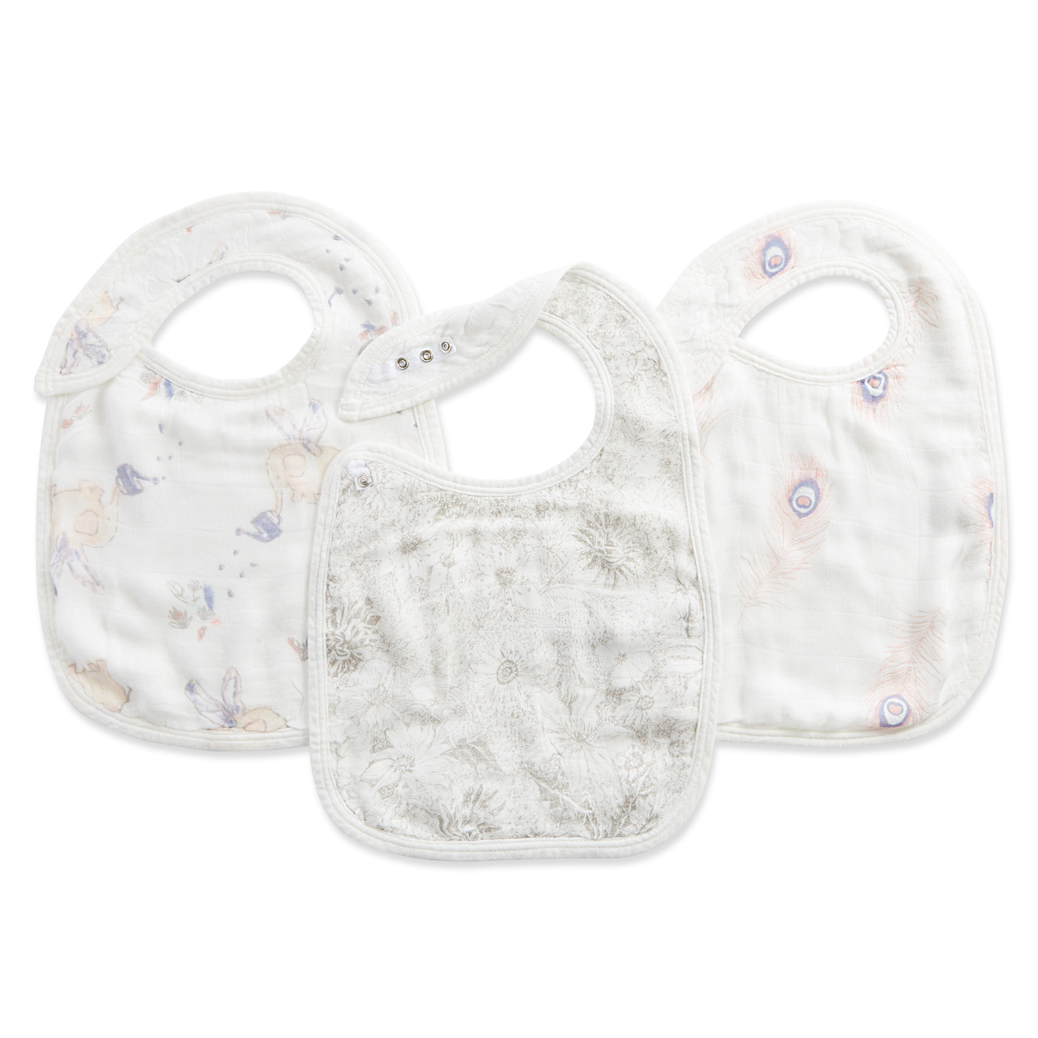 aden + anais silky soft snap bib 3 pack, featherlight