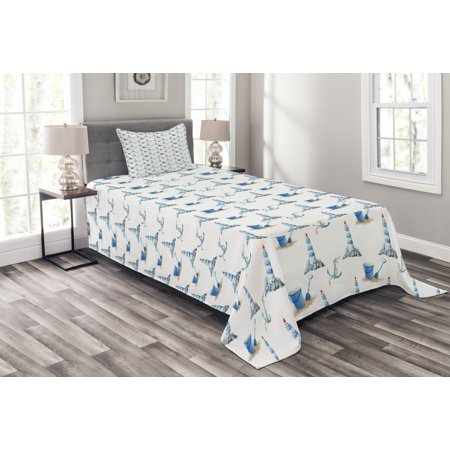 Lighthouse Bedspread Set, Hand Drawn Watercolor Sea Elements Beach Holiday Pattern Vintage Illustration, Decorative Quilted Coverlet Set with Pillow Shams Included, Blue White, by Ambesonne ()