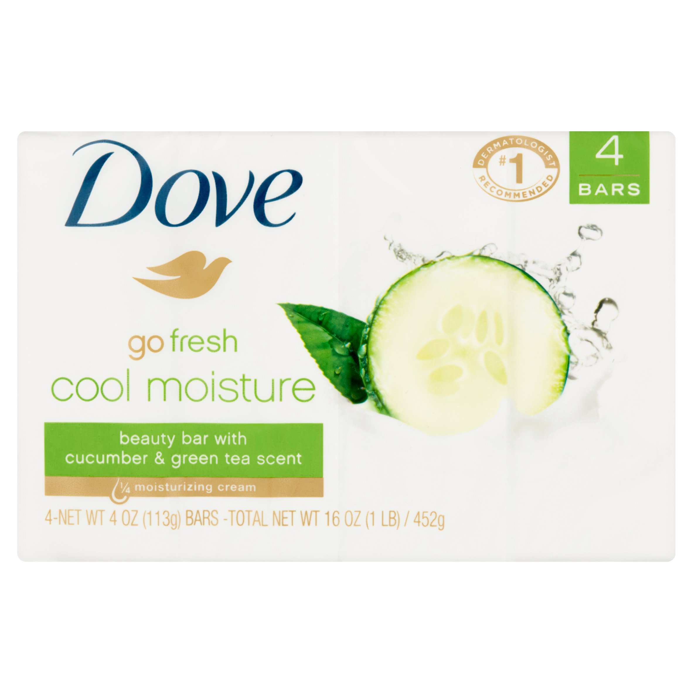 Dove Go Fresh Cool Moisture Beauty Bar Soap With Cucumber And Green Tea Scent, 4.25 oz, 4 ct - Walmart.com