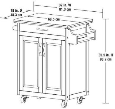 Finders | Mainstays Kitchen Island Cart, White