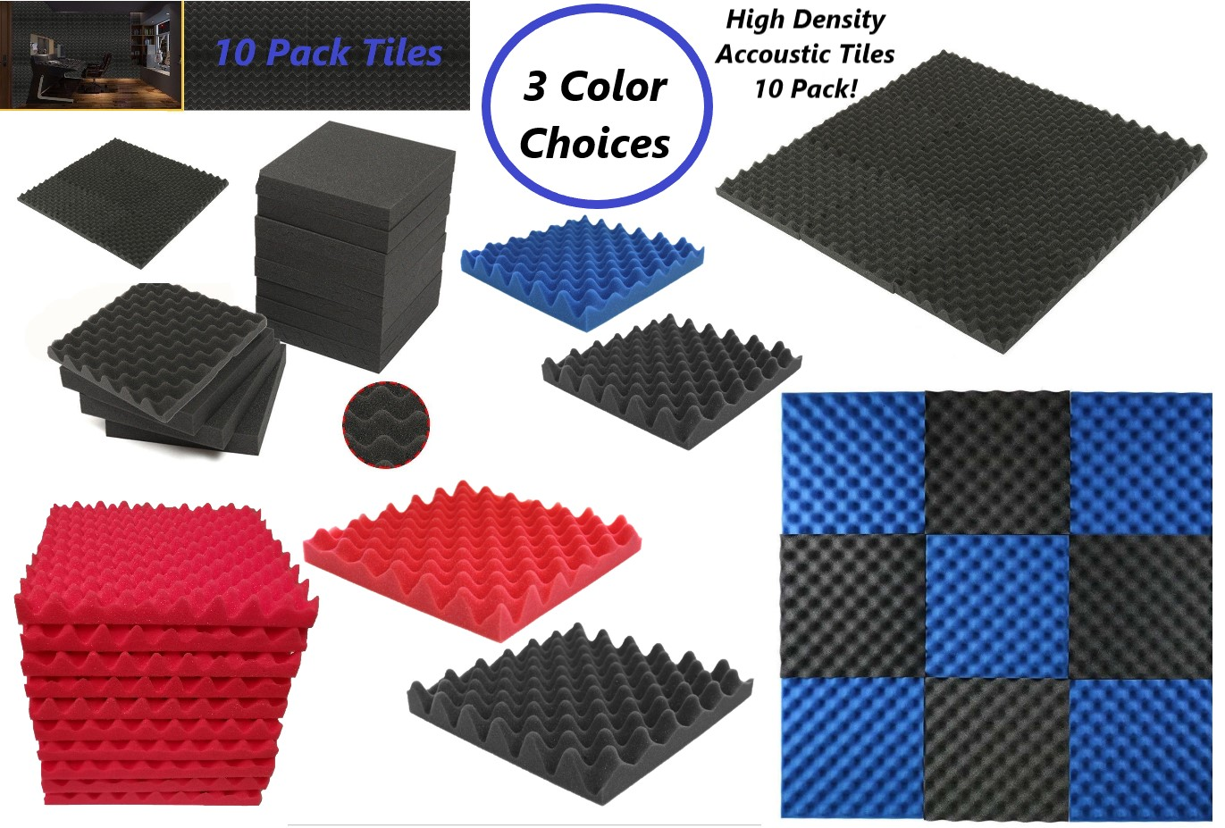 """72/""""X 36/""""Soundproofing Acoustic Foam Egg Crate Panel Studio Choose Color And Size"""