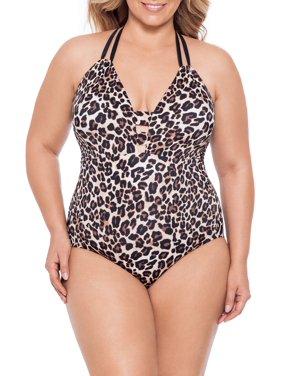 Time and Tru Women's Plus Size Animal Instinct One Piece Swimsuit