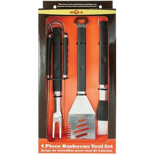 Mr Bar B Q 02466x 4pc Plastic Finger Grip BBQ Tool Set, Black/Silver