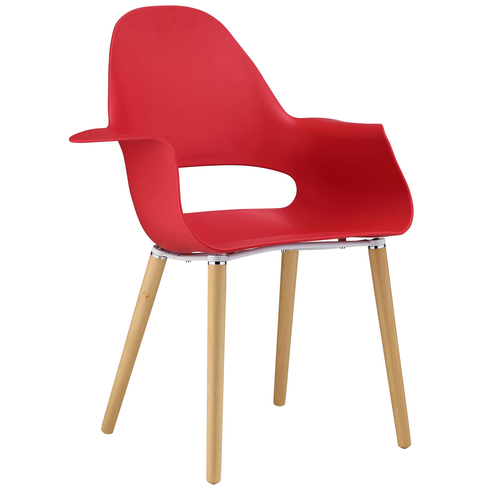 Modern Contemporary Dining Armchair, Red Plastic by