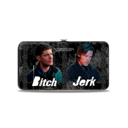 Supernatural 4-Character Poses/Bitch-Jerk + Idjits/Assbutt Black/Grays/White Hinged Wallet