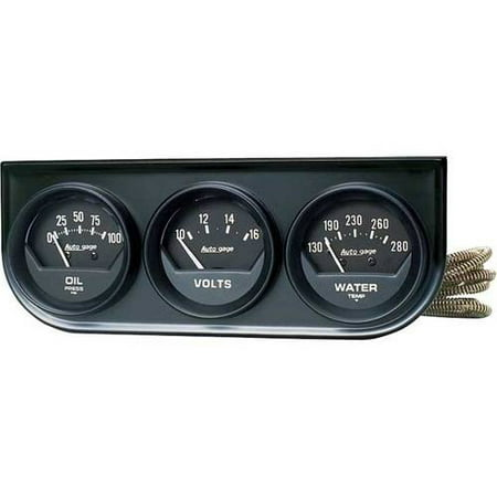 AUTO METER 2348 2IN 3 GAUGE CONSOLE, OIL/ WATER/VOLT, MECH, BLACK