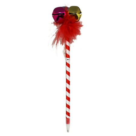Candy Can Style Christmas Pen With Jingle Bell Topper (Black Ink) - Christmas Pens