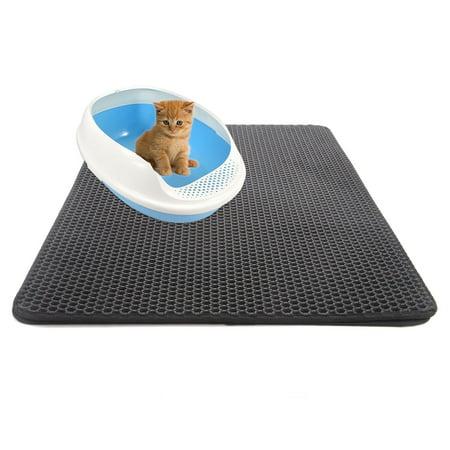 Double-Layer Cat Litter Trapper Mats Black Gray Cat Litter Mat with Waterproof Bottom Layer Cat Supplies