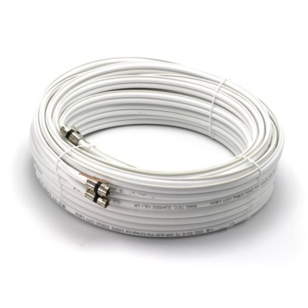 100ft Dual with Ground RG6 Coaxial, Made in the USA, Twin Coax Cable (Siamese Cable) with 18AWG Copper Ground Wire, Satellite, Antenna, and CATV Grade Compression Connectors, (Siamese Coax Cable)