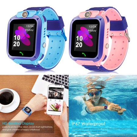 Kids Phone Smart Watch Boys Girls GPS Tracker Anti-lost SOS Call Wrist Watch Holiday Toy New Year Gift (Pink)