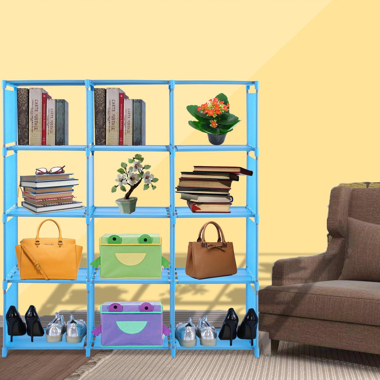 4-tier Storage Cube Closet Organizer Shelf 12-cube Cabinet Bookcase SPTE
